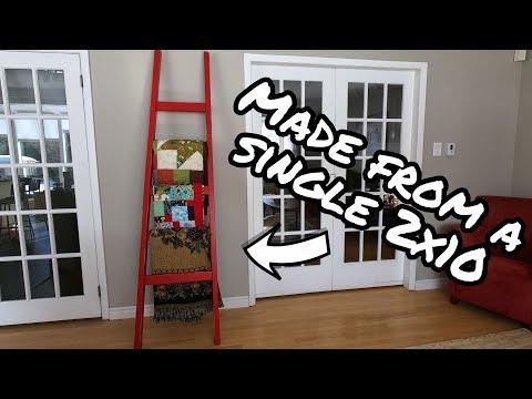 Blanket Ladder - Chalk paint [distressed] Beginner woodworking project (DIY)