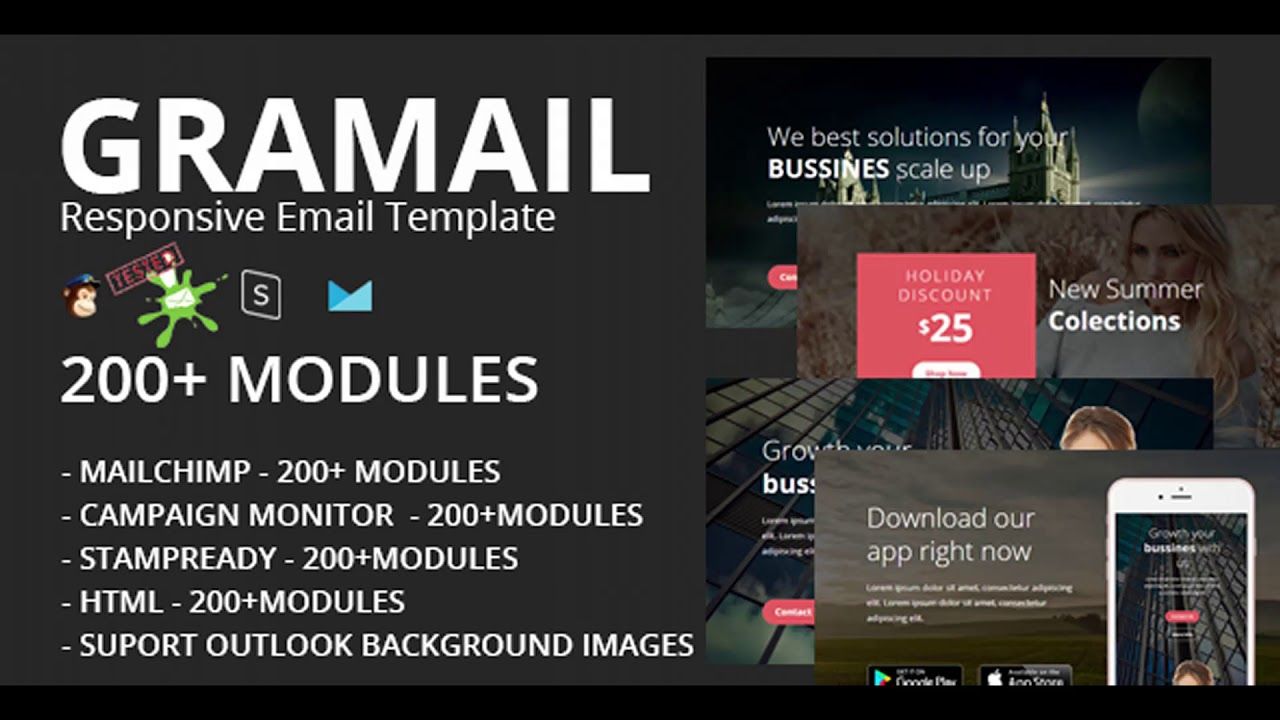 GRAMAIL - Responsive Email Template (200+ Modules) + Stampready ...