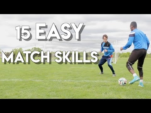 15 FOOTBALL MATCH SKILLS - THE EASIEST SKILL MOVES IN 1 TUTORIAL  + TRAINING TIPS