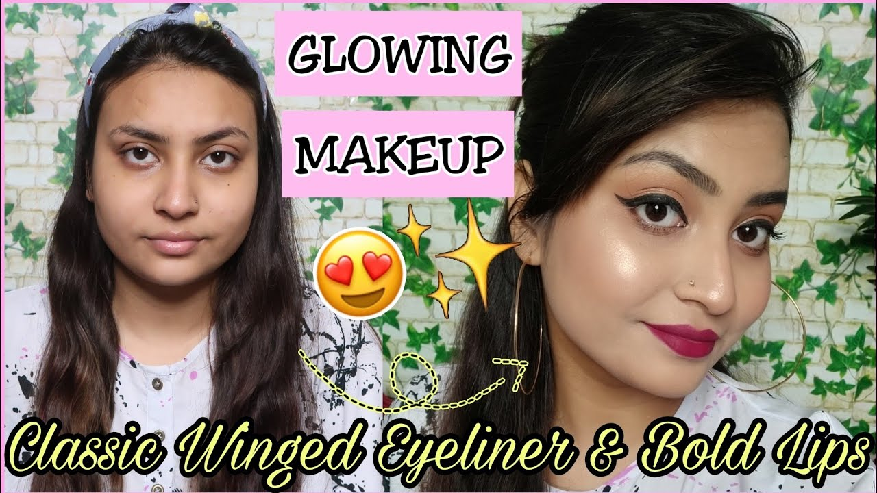 Classic Winged Eyeliner with Bold Lips Makeup !! makeoverlife