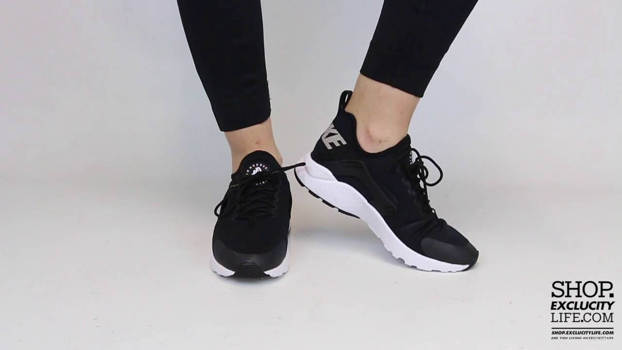 0aba7485c510a Women s Huarache Run Ultra Black White On feet Video at Exclucity ...