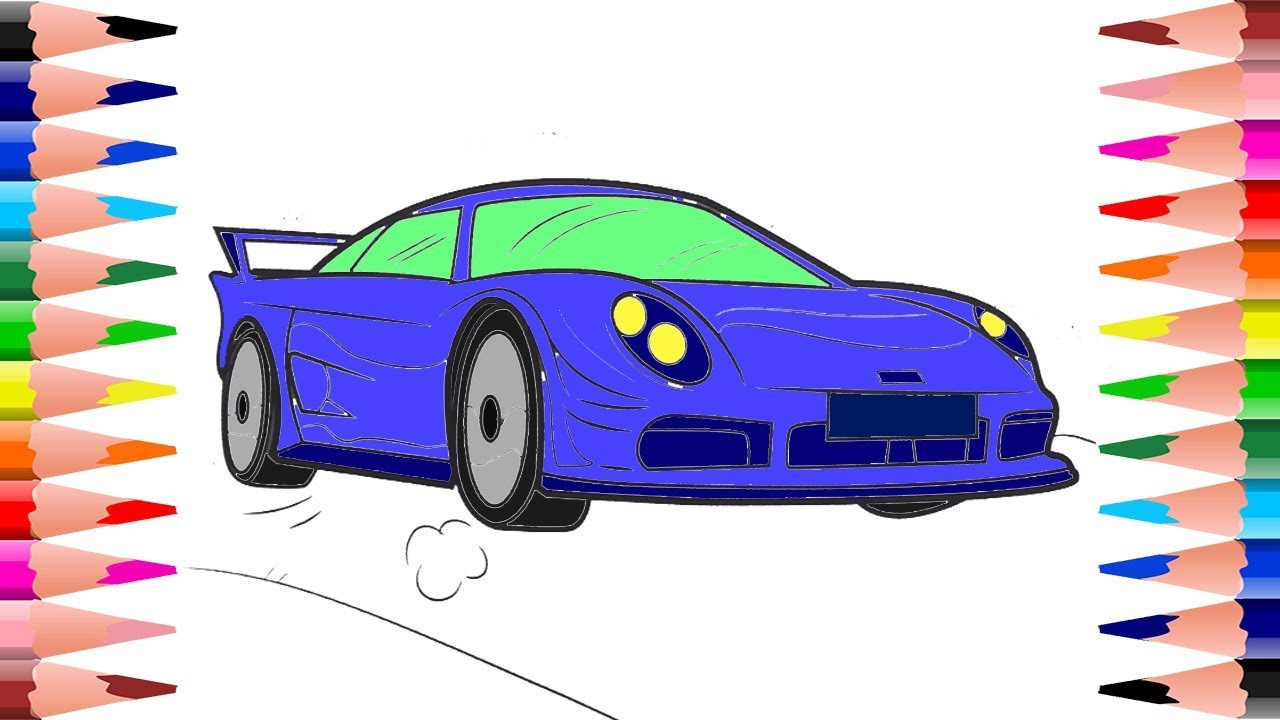 Painting Sports Cars Coloring Pages For Kids How To Color Cars
