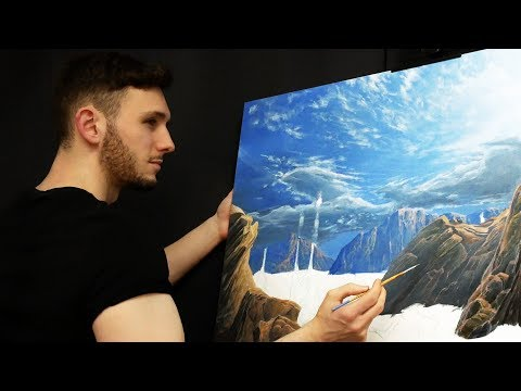Painting Realistic Distant Mountains and Rocks - Real Time Acrylic Painting Tutorial
