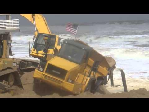 Joey Rullo: Dump Truck Almost Swallowed by OCEAN Ortley Beach NJ Dune Repair