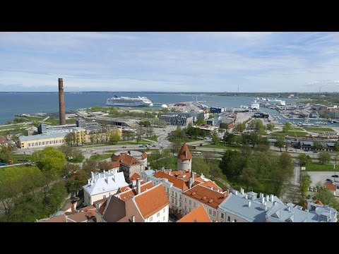 Tallinn Skyline from of St Olaf's Church Tower (4K)