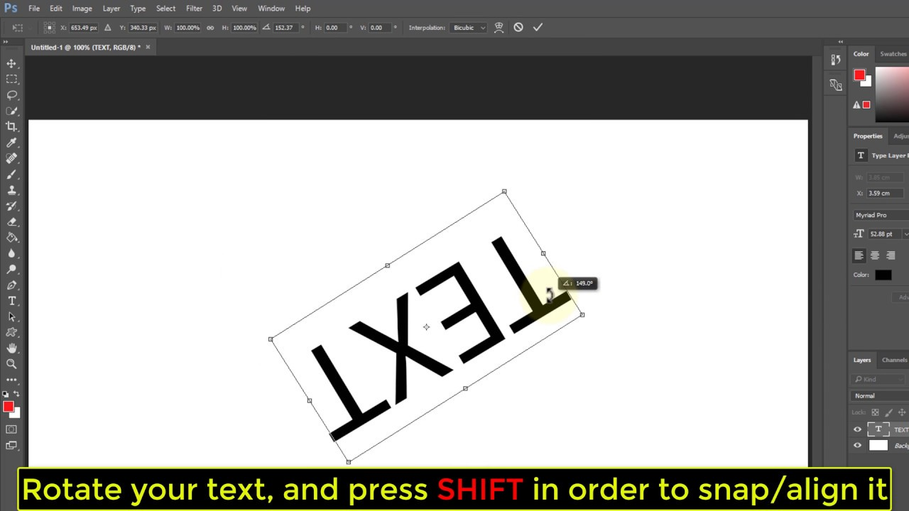 Text how rotate to in photoshop