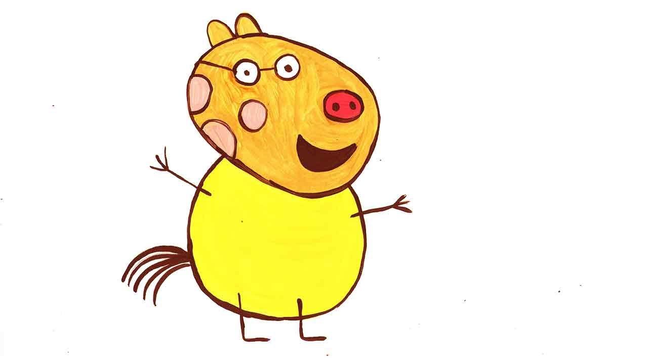 Рисуем Педро, героя мультика Свинка Пеппа. - YouTube