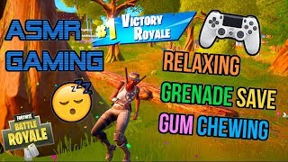 ASMR Gaming 😴 Fortnite Lucky Grenade Save Relaxing Gum Chewing 🎧🎮 Controller Sounds + Whispering 💤