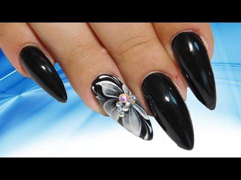 Белый цветок на черном Топ удивительный весенний дизайн ногтей Красивый и простой Nail art design