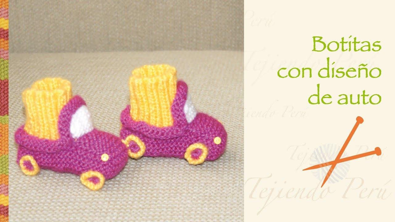 Cómo tejer botitas en forma de auto en palitos o dos agujas para ...