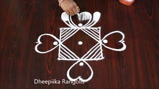 Easy rangoli design with 5 dots  l simple daily kolam for beginners l latest muggulu