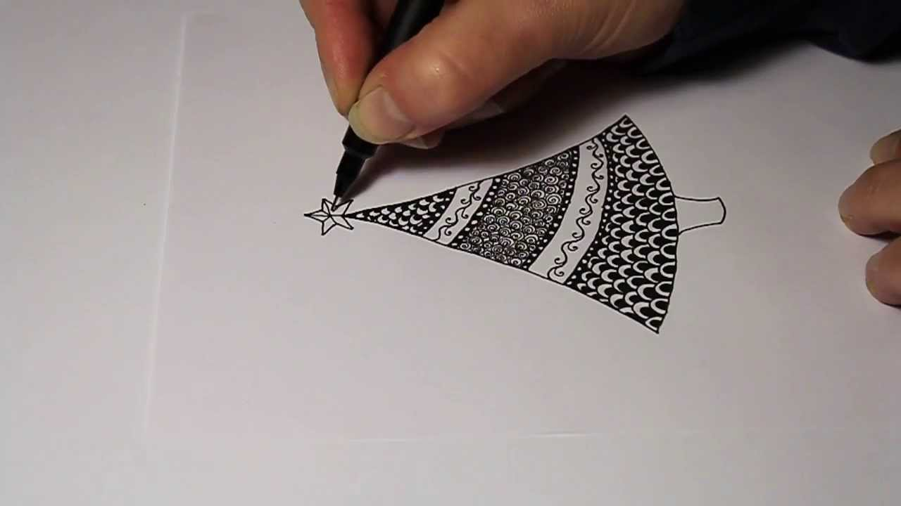 How to draw a simple Christmas tree zentangle style - YouTube