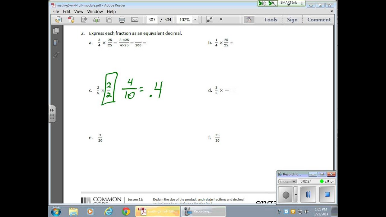 fraction and decimal equivalence examples solutions videos homework worksheets lesson plans  [ 1280 x 720 Pixel ]