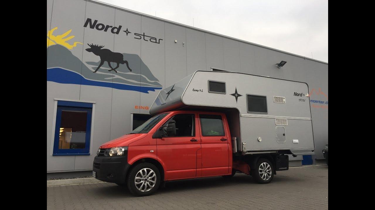 wohnkabine nordstar camp 9 s se 2017 auf volkswagen vw t6 doka pritsche youtube. Black Bedroom Furniture Sets. Home Design Ideas