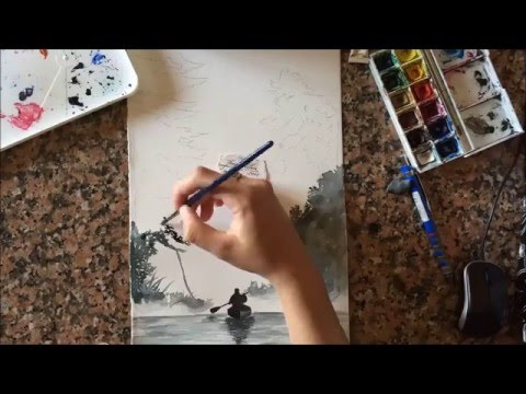 Painting in watercolor a fog landscape