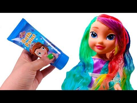 💖 FROZEN 💖 Pintando el pelo de Elsa de colores | Vídeos de Juguetes en Español