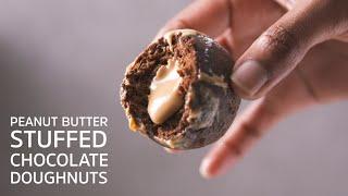 Peanut Butter Stuffed Chocolate Doughnuts