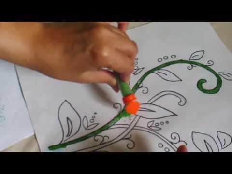 Coba Coba Menggambar Dengan Glitter Untuk Mewarnai Bunga Part 1