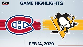 NHL Highlights | Canadiens vs. Penguins - Feb. 14, 2020