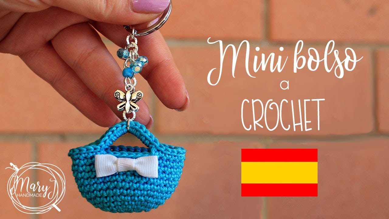 a0a3a9e98 Mini bolso tejido a crochet   Llavero   MARYJ HANDMADE