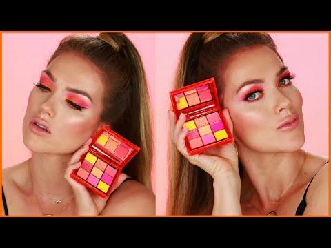 Makeup Tutorial on HUDA BEAUTY Neon Palette (Obsessions Pink & Orange)