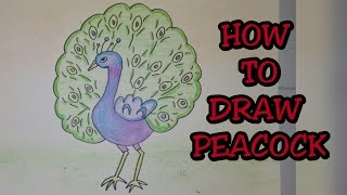 Drawing tutorial : Step by step drawing for kids|| How to draw Indian national bird || peacock