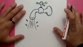 Como dibujar un grifo paso a paso | How to draw a tap