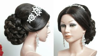 Wedding Prom Hairstyle For Long Hair Tutorial. Classic Bridal Updo.