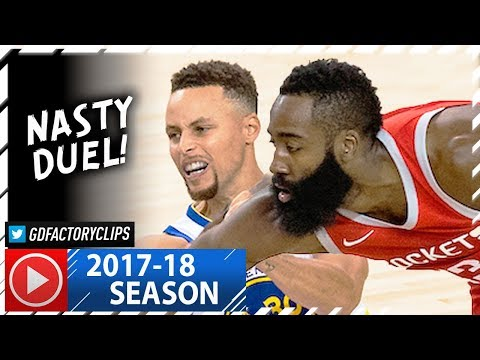 James Harden vs Stephen Curry CRAZY Duel Highlights (2017.10.17) Rockets vs Warriors - MUST SEE!