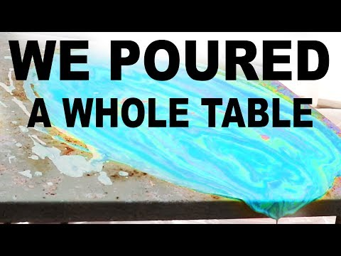 How to Acrylic Pour Furniture - We Poured Paint on this Table