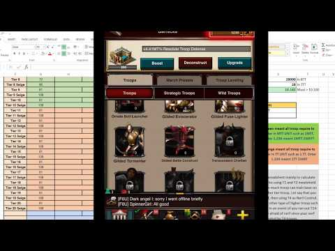Game Of War: How to Adjust Troop to BTT Unit in Spreadsheet