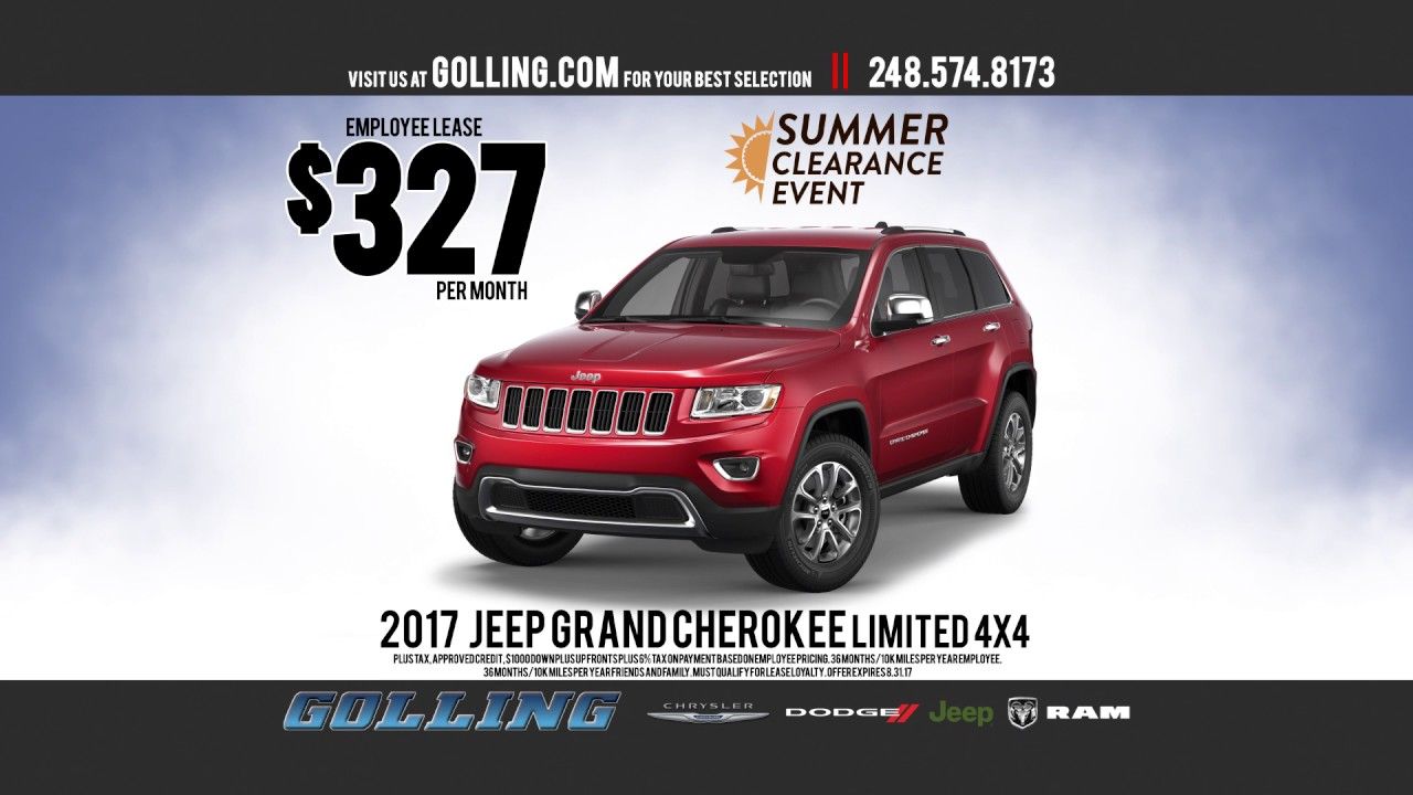 golling cdjr summer clearance event grand cherokee youtube. Black Bedroom Furniture Sets. Home Design Ideas