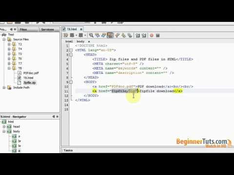 Beginner HTML Tutorial # 8 - Zip Files And PDF Files In HTML5