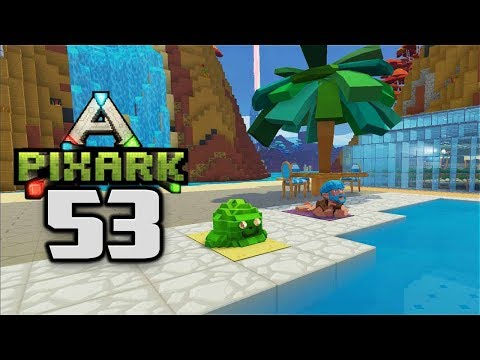 PATIO TABLE & WATERFALL! - Let's Play PixARK Gameplay Part 53 (PixARK Pooping Evolved)