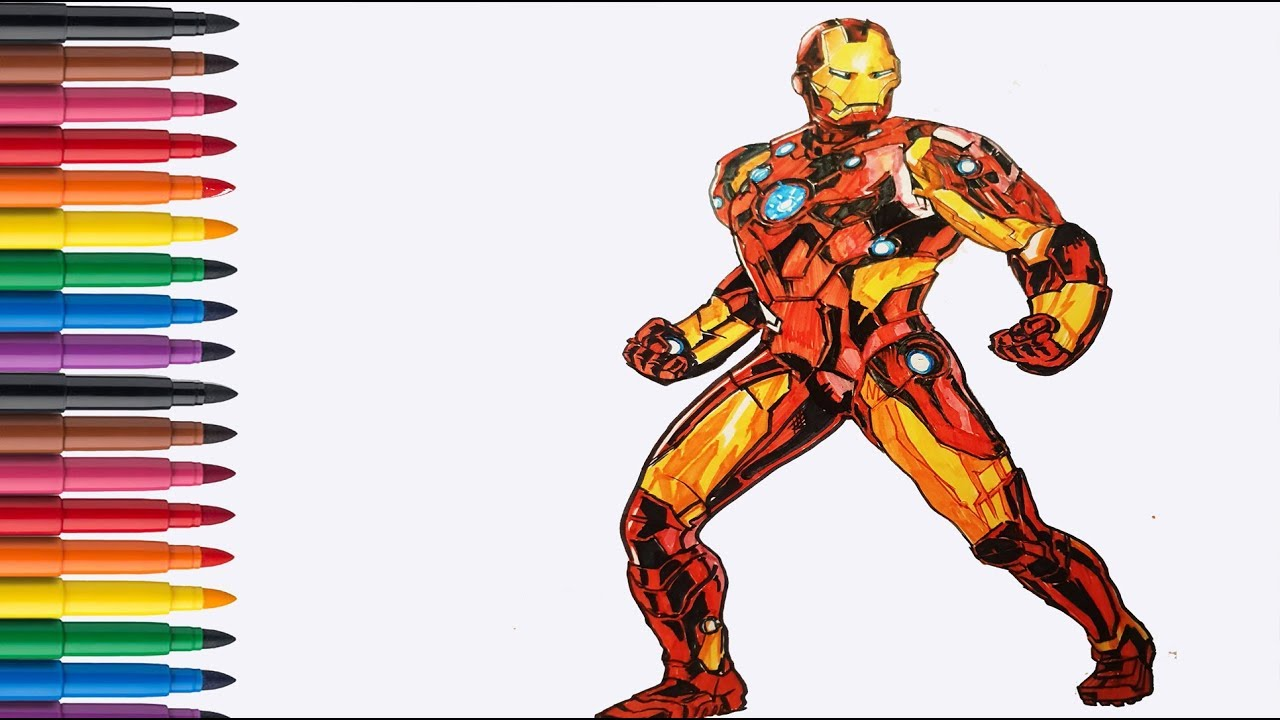 Dessin Coloriage Iron Man Super Heros Youtube