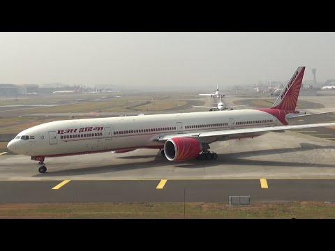 The Maharaja Takeoff. Air India Boeing 777 Departure from Mumbai Airport