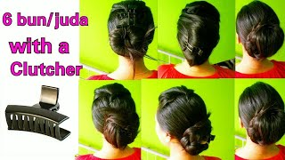 6 buns with clutcher| 6 juda hairstyles | how to tuck clutcher| Juda kaise banaye