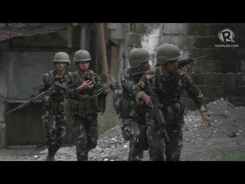 Philippine military in Marawi at work