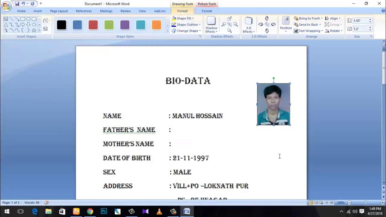 how to make a bio-data for job application 2018