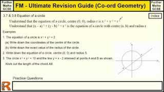 Coordinate Geometry (Equations of Circles) Ultimate revision guide for Further maths GCSE