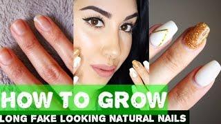 HOW TO GROW NAILS | From SHORT to False looking LONG NATURAL NAILS!!!!