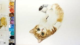 Watercolor painting kitten I m…