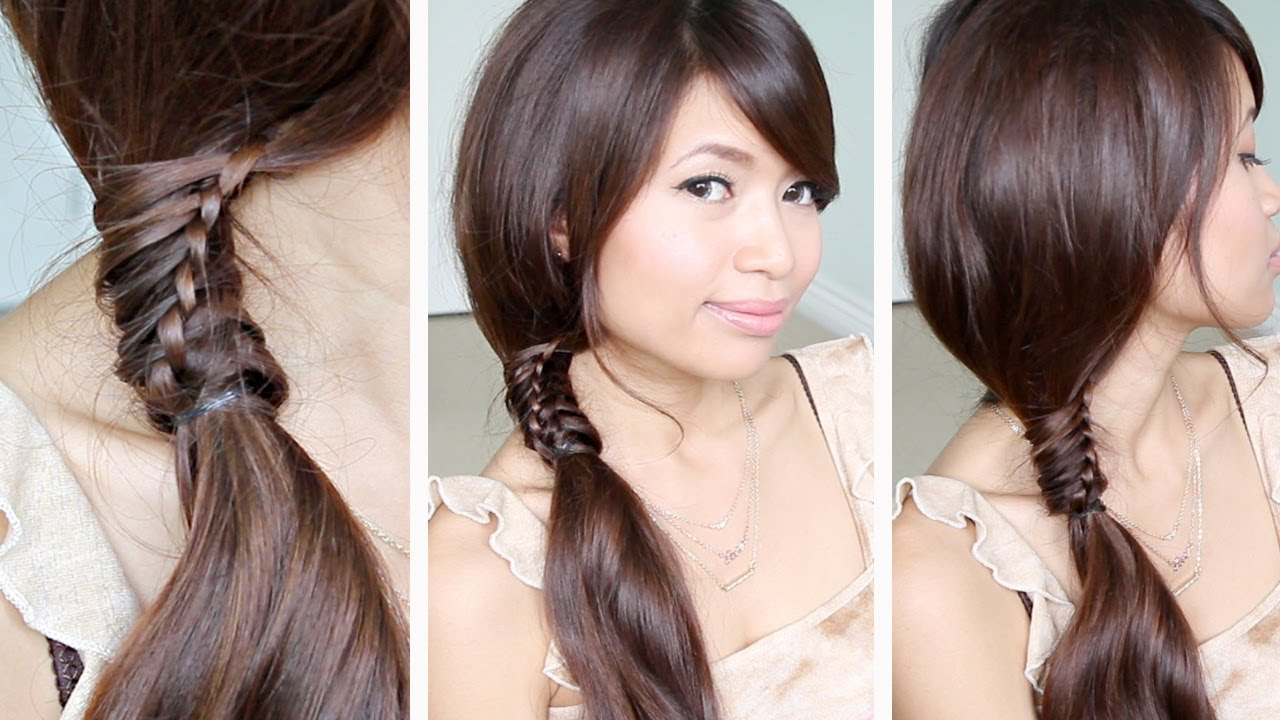 chinese staircase braid ponytail hairstyle for medium long hair tutorial