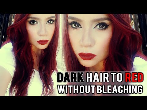 dark dyed and virgin hair to red hair without bleach