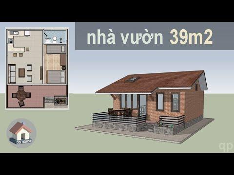 Mẫu nhà cấp 4 nhỏ đẹp, 39m2 ● 3D House Design