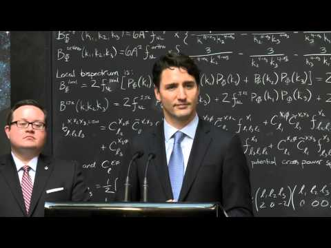 Prime Minister Trudeau makes an announcement at the Waterloo Perimeter Institute