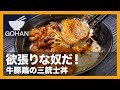 【簡単レシピ】1椀で欲張りに!『牛豚鶏の三銃士丼』の作り方