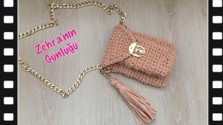 Penye ipten cepli küçük çanta yapımı - penye ipten kullanışlı küçük çanta