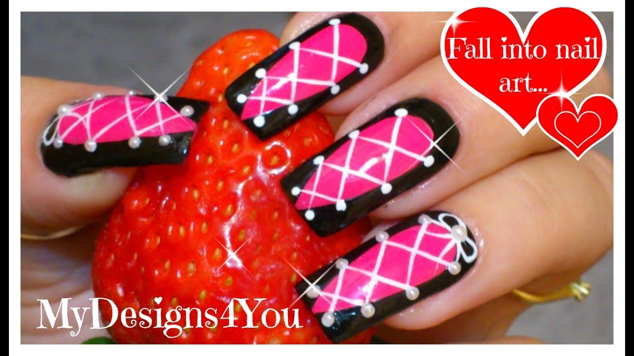 Corset Nail Art | Hot Pink and Black Nails Tutorial ♥ Дизайн Ногтей ...