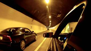 Hindhead Tunnel in the Maserati 3200 GT with Larini Sounds (view from a Mustang GT 5.0)